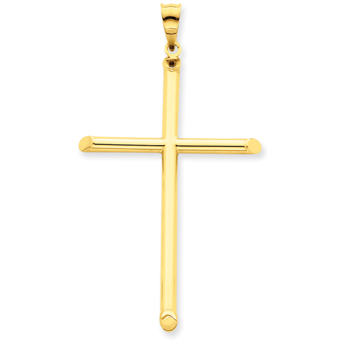 14k Yellow Gold 3-D 1 7/8in Hollow Cross Pendant