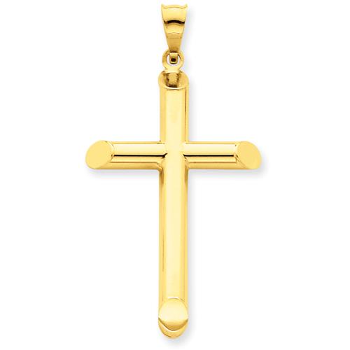 14kt Yellow Gold 3-D 1 7/16in Hollow Cross