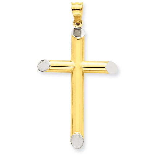 14k Yellow Gold & Rhodium 3-D Hollow Cross Pendant 1 7/16in