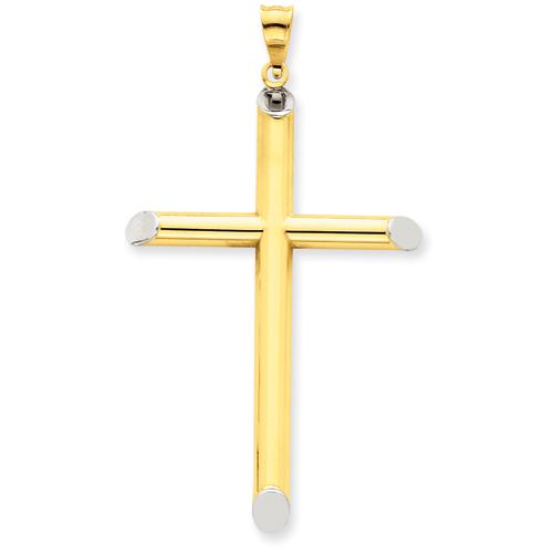 14k Yellow & Rhodium 3-D Hollow Cross Pendant 1 7/8in