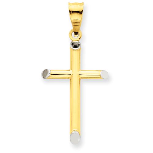 14k Yellow Gold & Rhodium 3-D Hollow Cross Pendant 1in