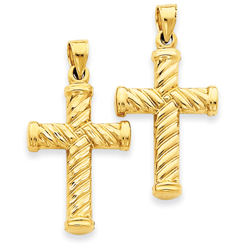 14k Yellow Gold Reversible Diamond Cut Cross Pendant 1in