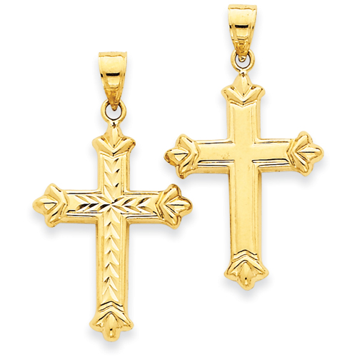 14kt Yellow Gold Reversible 1in Diamond Cut Cross
