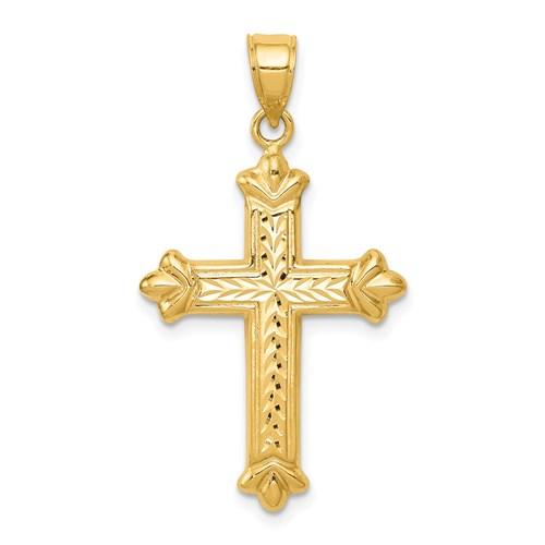 14k Yellow Gold Reversible Diamond Cut Budded Cross 1in