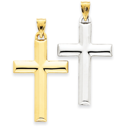 14k Yellow Gold Rhodium 1 1/4in Reversible Cross Pendant