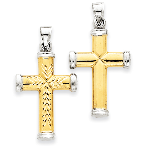 14k Yellow Gold and Rhodium 1in Reversible Cross Pendant