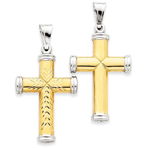 14kt Two-tone & Rhodium 1 3/8in Reversible Cross