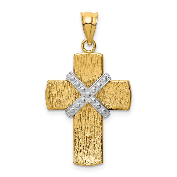 14k Two-tone Gold 7/8in Diamond-cut Wrapped Cross Pendant