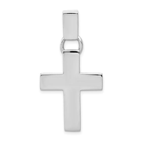 14kt White Gold 1in Modern Cross Pendant