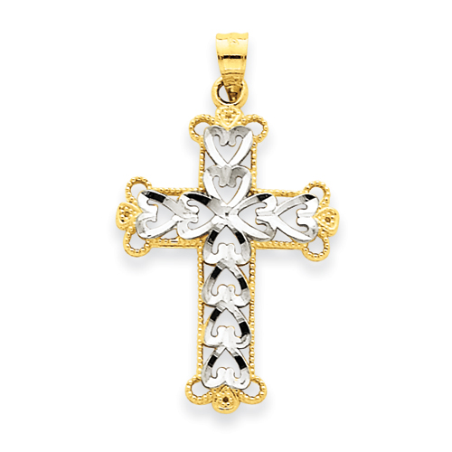 14k Yellow Gold Rhodium 1in Budded Cross Pendant with Hearts