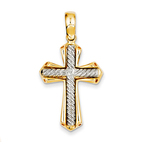 14k Two-tone Gold 1 1/8in Crusader Cross Pendant