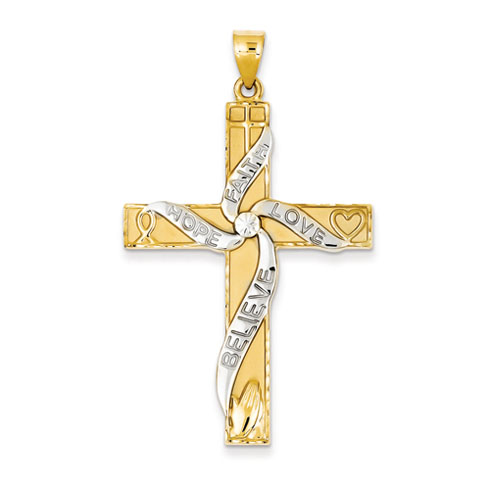 14kt Two-tone Gold 1 3/4in Faith Hope Love Believe Cross