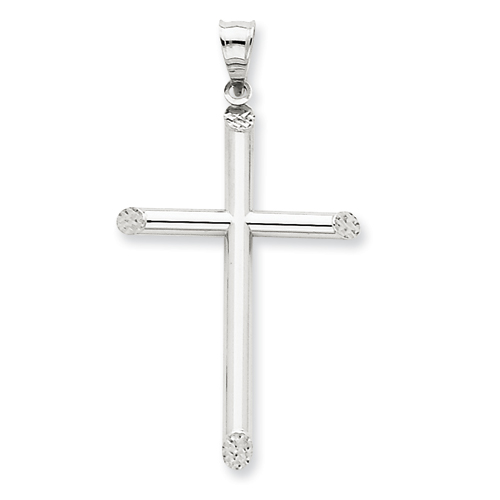 14k White Gold 1 1/2in Hollow Diamond-cut Cross