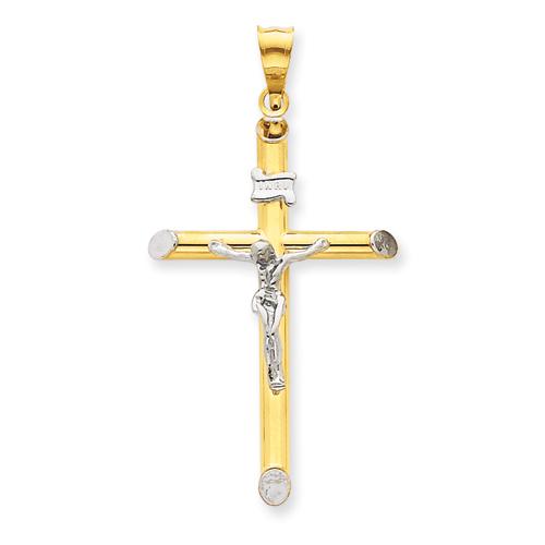 14kt Two-tone & Rhodium 1 1/2in INRI Hollow Crucifix Pendant