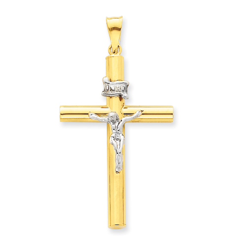 14k Two-tone Gold Hollow 1 1/2in INRI Crucifix Pendant