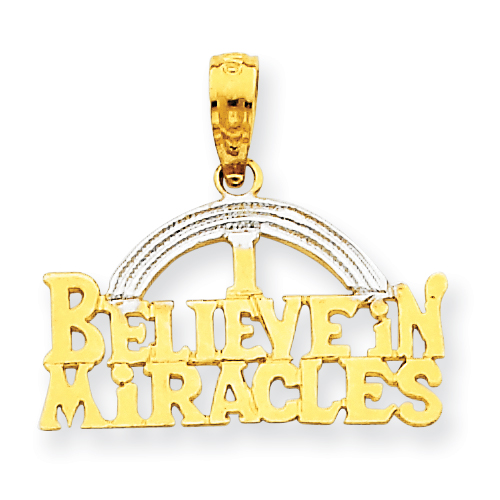 14k Gold and Rhodium I Believe In Miracles Pendant