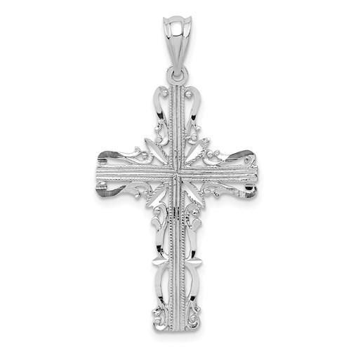 14kt White Gold 1 1/8in Latin Filigree Cross Pendant