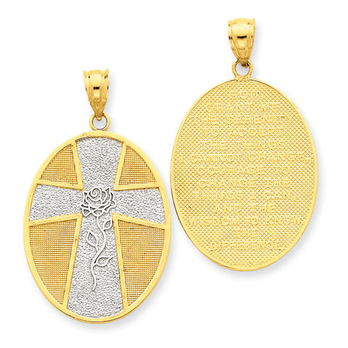 14k Gold Rhodium 1in Serenity Oval Cross Pendant