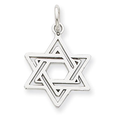 14k White Gold 5/8in Jewish Star Charm