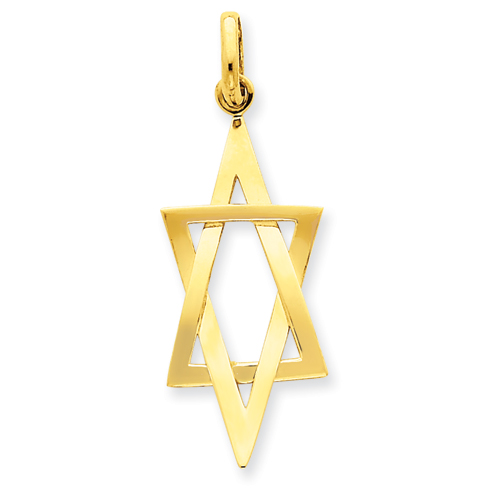 14k Yellow Gold 1 1/4in Elongated Star of David Pendant