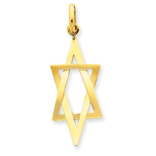 14k Yellow Gold 1 1/4in Elongated Star of David Pendant