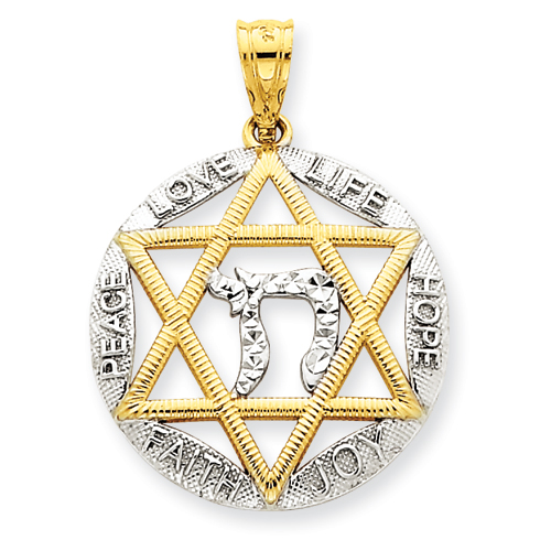 14k Two-tone Gold 7/8in Star of David and Chai Round Pendant