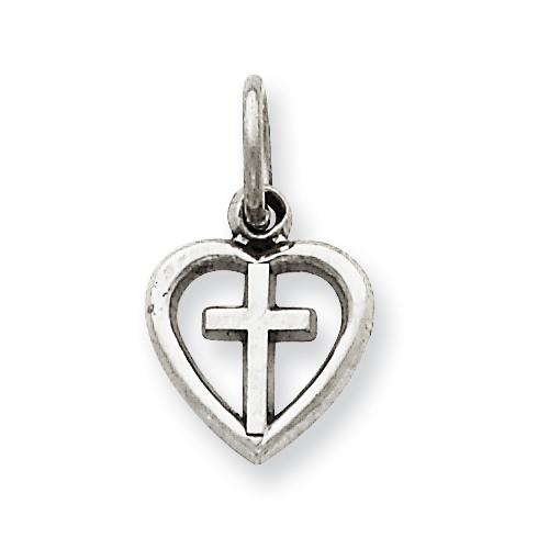 14kt White Gold 3/8in Cross in Heart Charm
