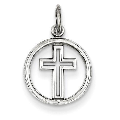 14kt White Gold 1/2in Eternal Life Cross Charm
