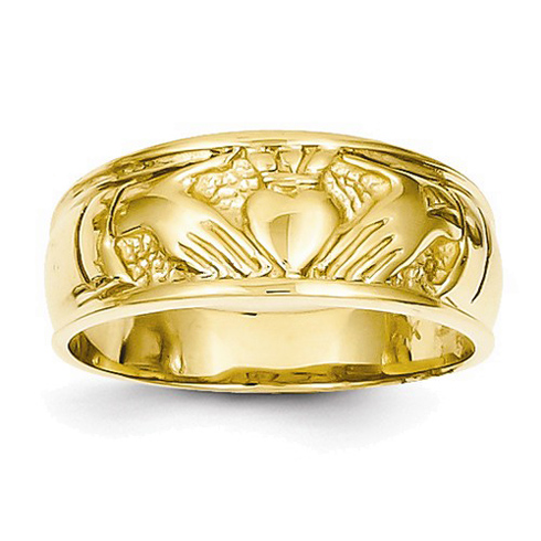 14kt Yellow Gold 7mm Ladies' Claddagh Wedding Band