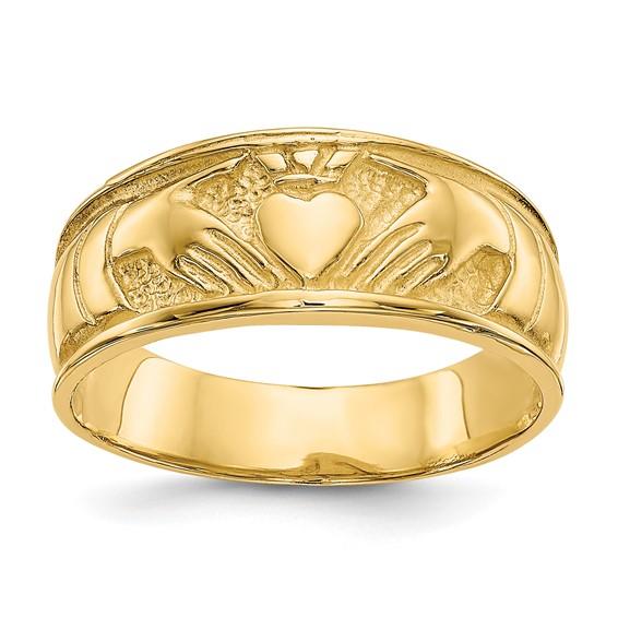 14kt Yellow Gold 8mm Ladies' Claddagh Wedding Band
