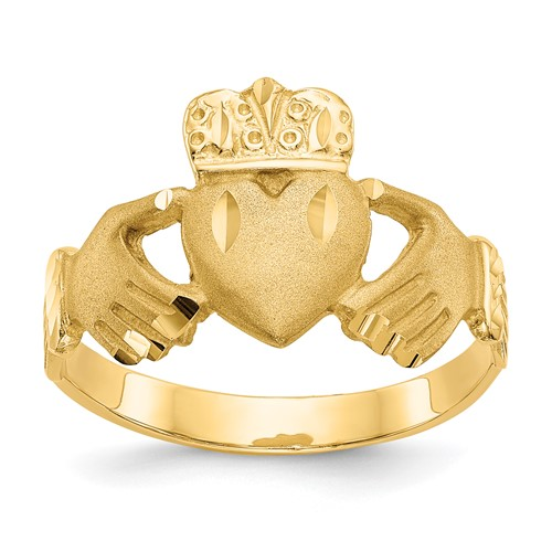 14kt Yellow Gold Men's Satin Claddagh Ring