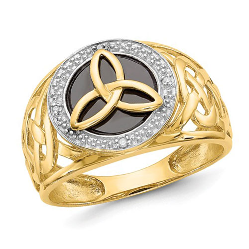 14k Yellow Gold Black Onyx Trinity Ring with Diamond Accents