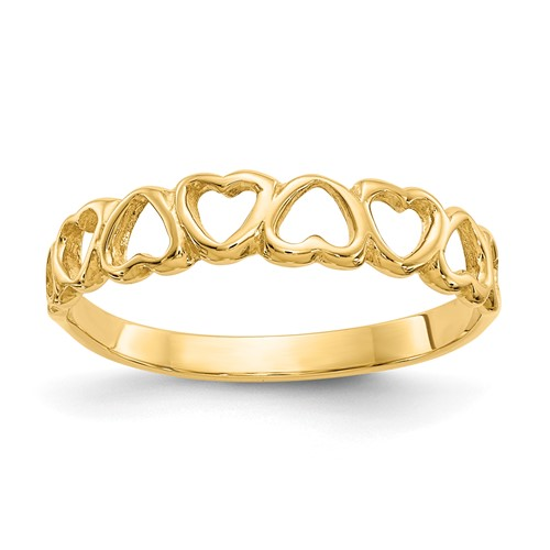 14kt Yellow Gold Polished Open Hearts Ring