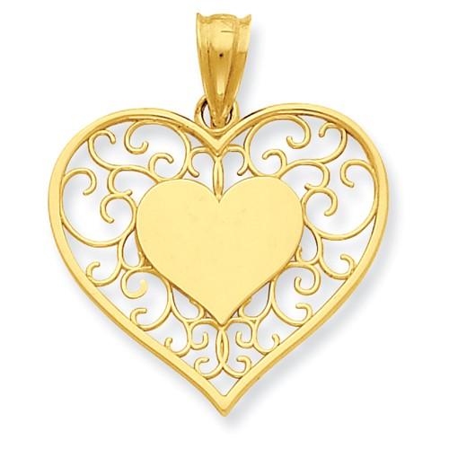 14kt Yellow Gold 3/4in Heart in Heart Filigree Pendant