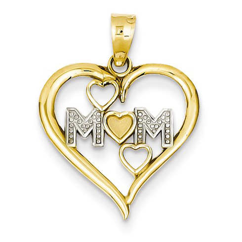 14kt Yellow Gold 5/8in Mom Hearts within Heart Pendant