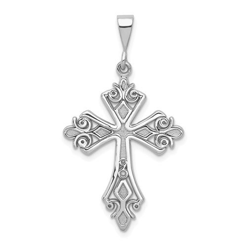 14kt White Gold 1 1/16in Fleur de lis Cross Pendant
