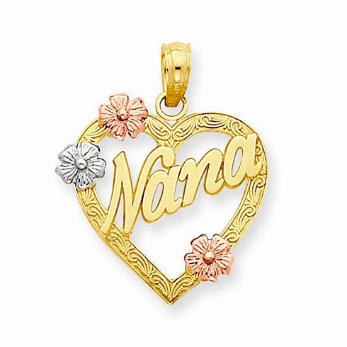 14kt Tri-color Gold 5/8in Heart Nana Charm