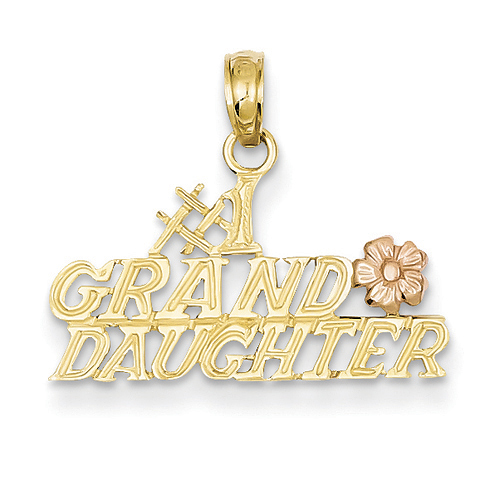 14kt Two-tone Gold #1 Granddaughter with Flower Pendant