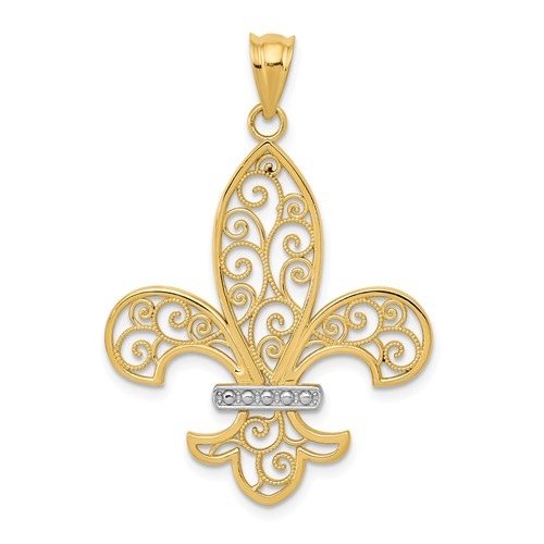 14kt Yellow Gold 1in Filigree Fleur de Lis Pendant