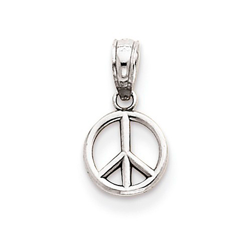 14kt White Gold 1/4in 3-D Peace Symbol Pendant