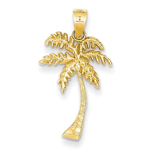 14kt Yellow Gold 7/8in Palm Tree Pendant