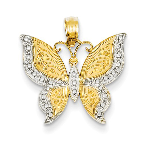14kt Yellow Gold 3/4in Textured Beaded Butterfly Pendant