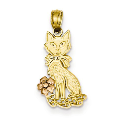 14kt Yellow and Rose Gold 3/4in Cat and Flower Pendant