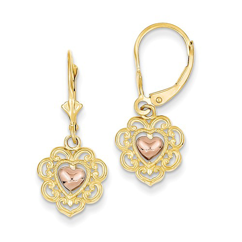 14kt Two-tone Gold Heart with Lace Leverback Earrings