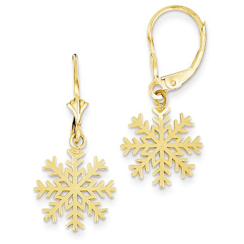 14kt Yellow Gold Snowflake Leverback Earrings
