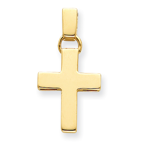 14k Yellow Gold 1in Thick Hollow Cross Pendant