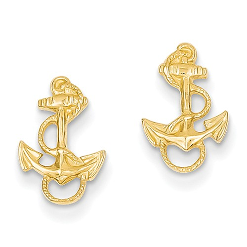 14kt Yellow Gold 1/2in Polished Anchor Earrings with Rope