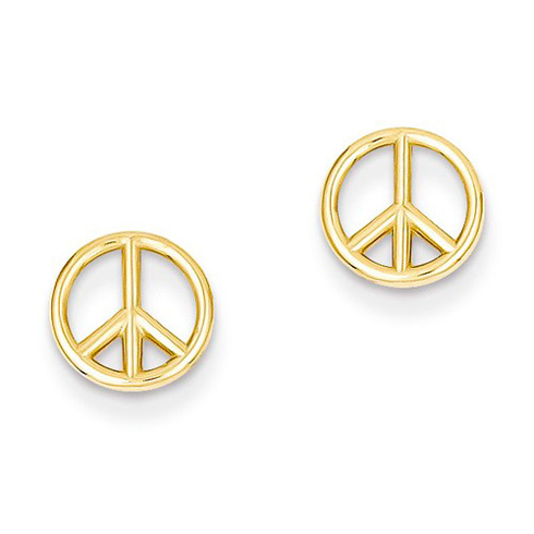 14kt Yellow Gold Polished Peace Symbol Earrings
