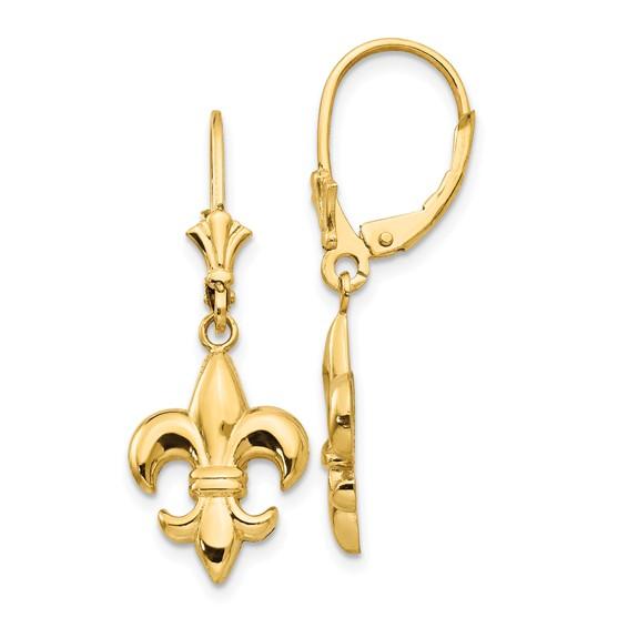 14kt Yellow Gold Fleur-de-lis Leverback Earrings