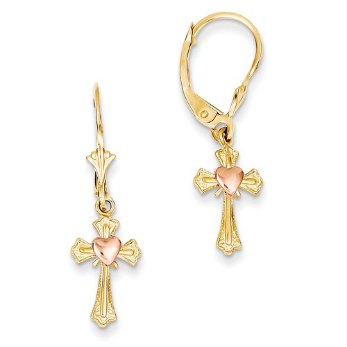 14kt Two-tone Gold Heart and Cross Leverback Earrings